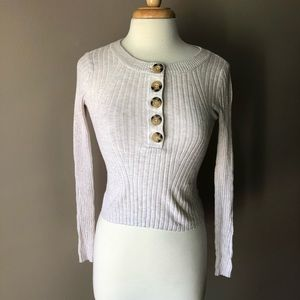 American Eagle cropped Henley sweater XS